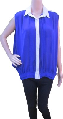 Aaradhya Boutique Casual Sleeveless Solid Women,s Blue Top