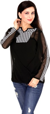 Damsel Casual Full Sleeve Checkered Women's Black Top