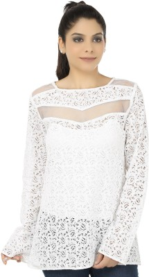 Elmo Casual Full Sleeve Solid Women's White Top