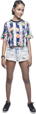 Sassystripes Casual Short Sleeve Printed Women's Multicolor Top