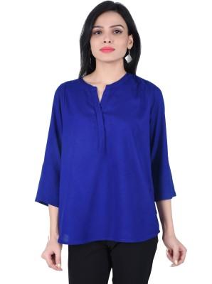 JUNIPER Casual 3/4 Sleeve Solid Women's Blue Top