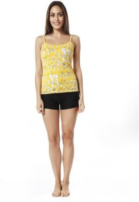 Mystere Paris Lounge Wear Sleeveless Printed Women's Yellow Top