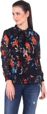 Vvoguish Women,s Floral Print Casual Blue Shirt
