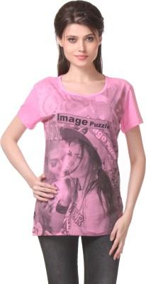 WAKO Casual Short Sleeve Printed Women's Pink Top