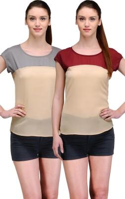 TheGudLook Casual Short Sleeve Printed Women's Multicolor Top