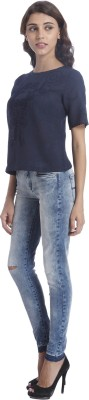Only Casual Short Sleeve Embroidered Women's Blue Top