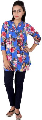 Go4it Casual, Party 3/4 Sleeve Floral Print Women,s Blue Top
