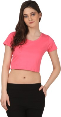 FashionExpo Casual Short Sleeve Solid Women's Pink Top
