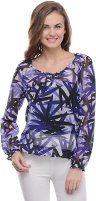 Moderno Casual Full Sleeve Printed Women's Purple Top