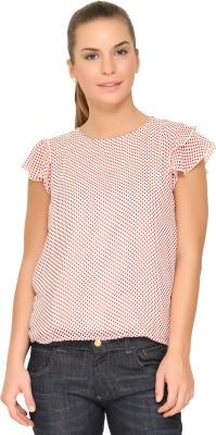 Alibi By Inmark Casual Short Sleeve Printed Women,s Beige Top