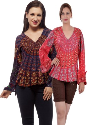 Indi Bargain Casual, Party, Formal, Beach Wear Full Sleeve Printed, Floral Print Women's Purple, Red Top