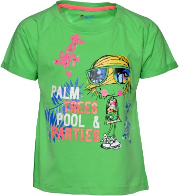 Pepito Casual Short Sleeve Printed Girl's Green Top
