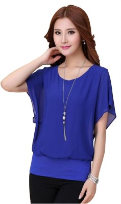 Jay Bhavani Fashion Beach Wear Butterfly Sleeve Self Design Women's Blue Top