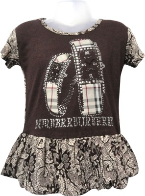 Threads Casual Short Sleeve Self Design Girl's Brown Top
