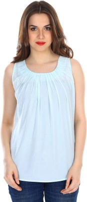 Colors Couture Casual Sleeveless Solid Women's Blue Top