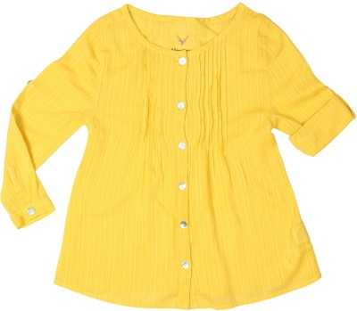 Allen Solly Casual Full Sleeve Striped Girl's Yellow Top