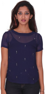 Aggana Casual Short Sleeve Embroidered Women's Dark Blue Top