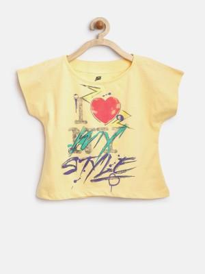 Yk Casual Short Sleeve Printed Girl's Yellow Top