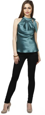 Glam & Luxe Casual Sleeveless Solid Women's Green Top