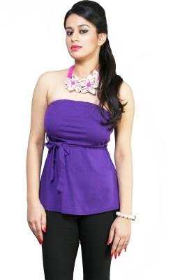 Schwof Party Sleeveless Solid Women's Purple Top