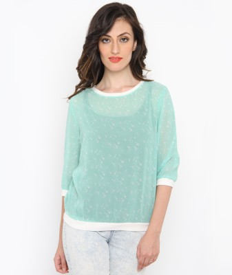 Philigree Casual 3/4 Sleeve Printed Women,s Green, White Top