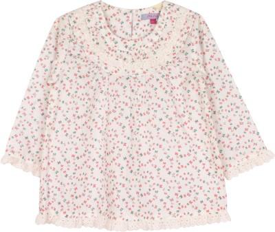 Nana Casual Full Sleeve Printed Girl's White Top