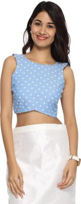 Francisca & Dominique Casual Sleeveless Polka Print Women's Blue Top