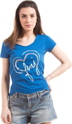 Flying Machine Casual Short Sleeve Printed Women's Blue Top