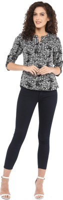 C2 Casual Roll-up Sleeve Printed Women's Black Top