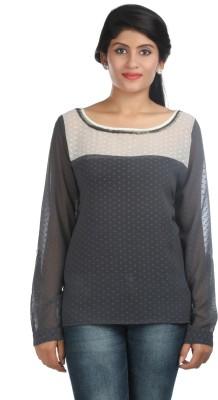 Zoe Fashions Formal Full Sleeve Self Design Women's Grey, White Top