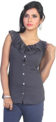 Ten on Ten Casual Sleeveless Solid Women's Grey Top