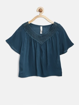 Yellow Kite Casual Short Sleeve Solid Girl's Blue Top