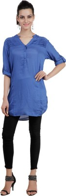 Pret a Porter Casual 3/4 Sleeve Solid Women's Blue Top