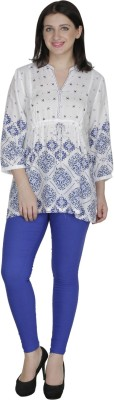 French Creations Casual 3/4 Sleeve Printed Women's White Top