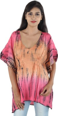 Megha Casual Butterfly Sleeve Printed Women,s Pink Top
