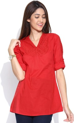 U&F Casual 3/4 Sleeve Solid Women's Red Top