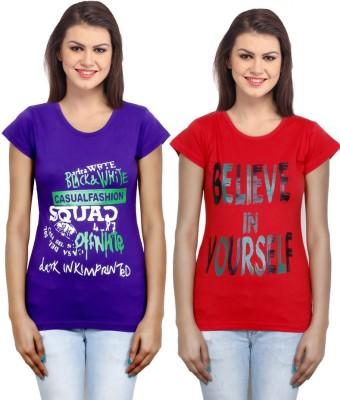 IndiWeaves Casual Short Sleeve Printed Girl's Purple, Red Top