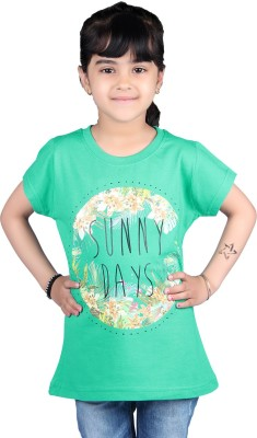 Skidlers Casual Short Sleeve Solid, Graphic Print Girl's Green Top