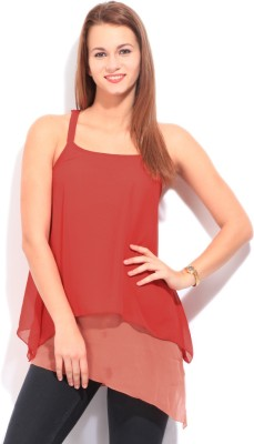 Imara Casual Sleeveless Solid Women's Red Top