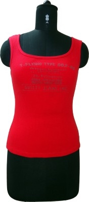 Ric Designs Party, Sports, Beach Wear, Casual Sleeveless Solid Women's Red Top