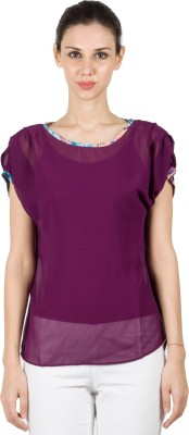 B Kind Casual Short Sleeve Solid Women's Purple Top