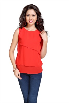 Eighteen4ever Casual Sleeveless Solid Women's Orange Top