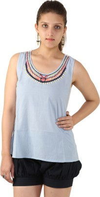 Unicolr Casual Sleeveless Embroidered Women's Light Blue Top