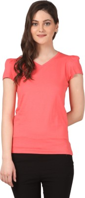 FashionExpo Casual Puff Sleeve Solid Women's Pink Top