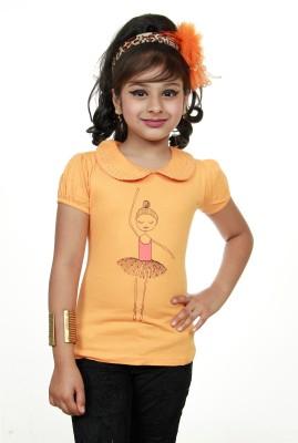 STRAWBERRY GIRL Casual Short Sleeve Printed Baby Girl,s Orange Top