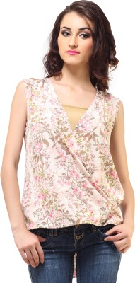 Femme India Formal, Casual Sleeveless Printed Women's White, Pink Top