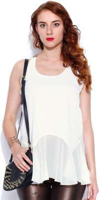 D Muse by DressBerry Casual Full Sleeve Solid Women's White Top
