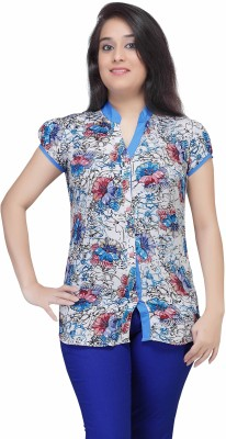 HERCOMPLETEWOMAN Casual Short Sleeve Floral Print Women's Multicolor Top