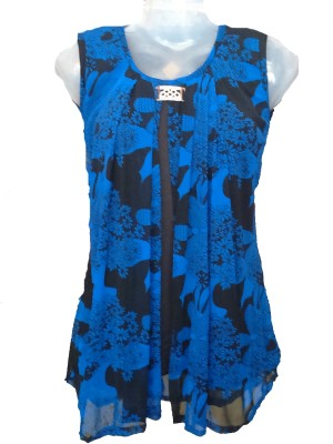 Jhumri Casual Short Sleeve Floral Print Girl's Blue Top