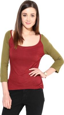 Trend18 Casual 3/4 Sleeve Solid Women's Maroon Top